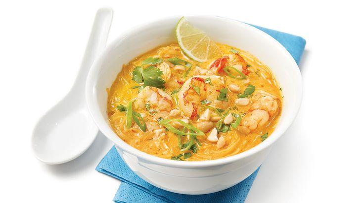 Soupe thaïe aux crevettes #IGA #Recettes #Crevette #Soupe