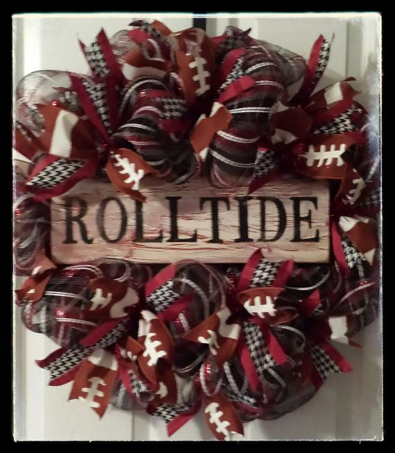 Hey, I found this really awesome Etsy listing at https://www.etsy.com/listing/195594690/alabama-football-houndstooth-wreath
