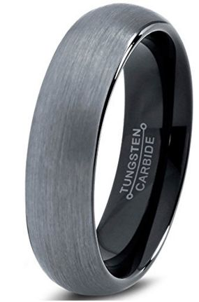 6mm Brushed Tungsten Ring with a Dome Finish