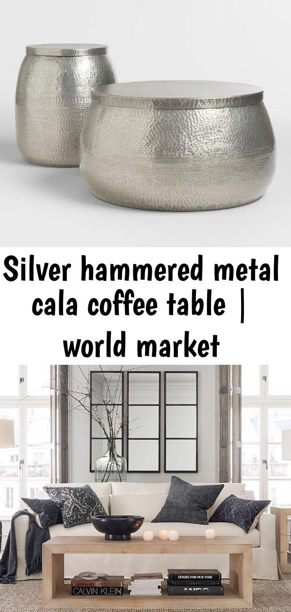 Silver Hammered Metal Cala Coffee Table World Market Dupree