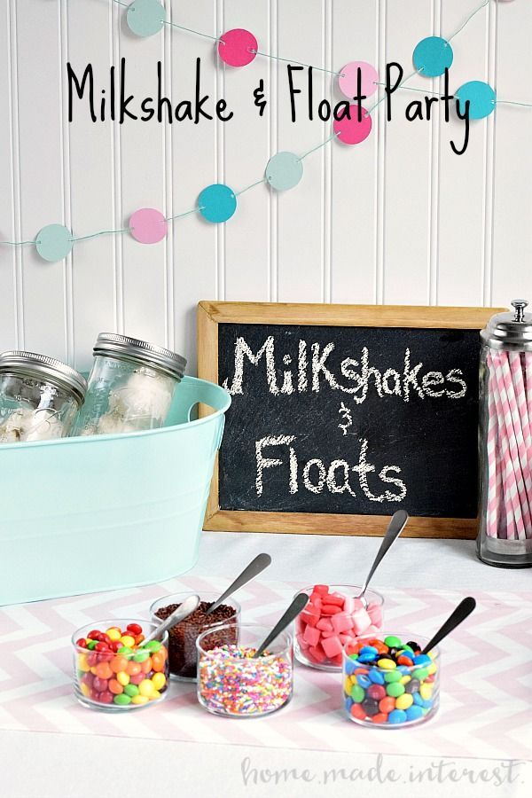 This milkshake and float bar was so fun! The kids and adults all loved picking out their favorite ice cream treats and toppings and creating their own milkshake or float. It was a great idea for an ice cream party. #ShareFunshine #Ad
