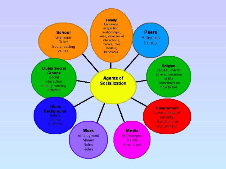 This Image Is A Mind Map Of The Areas That Create Socialisation  Under Each Key Area There Are