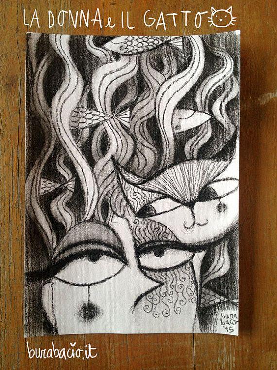 Stampa del disegno Donna e Gatto realizzato con di Burabacio