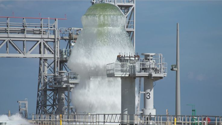 NASA has conducted a wet flow test at Kennedy Space Center's Launch Complex 39B in preparation for the Space Launch System (SLS) rocket launch in 2019.