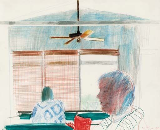Artwork by David Hockney, Fire Island, Made of coloured pencils on paper