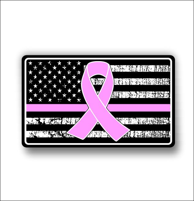 Support cancer awareness american flag sticker decal