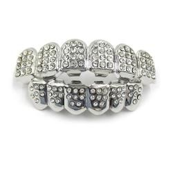 Iced Out Silver Top and Bottom Grillz