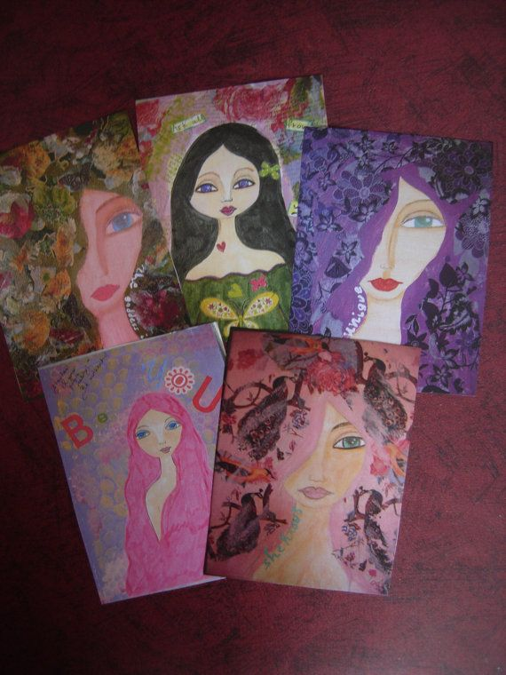Mixed media cards/postcards/journal tags/thank you by eltsamp, $30.00