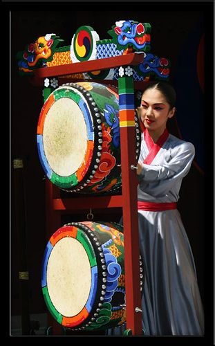 Photograph of drum dance performance in Suwon, Korea. Or as I fondly call it 'the old hood'.