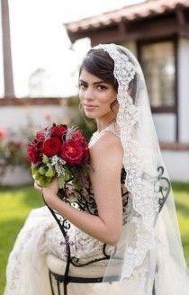Beaded Lace Veil In Fingertip Length Spanish Wedding Veil, Classic Bridal Veil, Lace Veil Mantilla