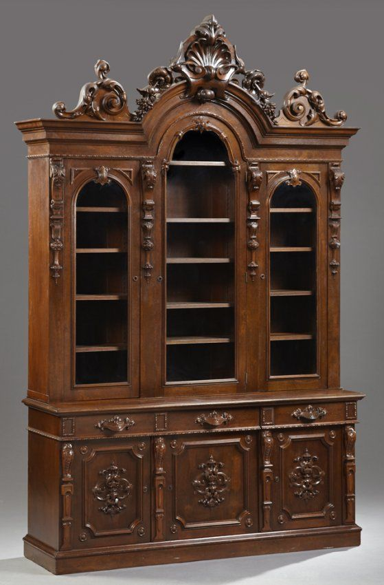 American Renaissance Revival Carved Mahogany Bookcase, : Lot 345