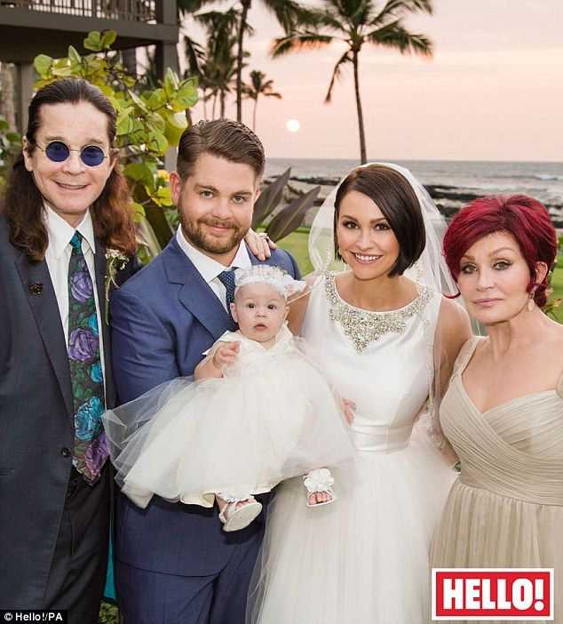 Three generations of Osbournes: The happy newlyweds pose with Jack's parents, Ozzy and Sharon, during their wedding in Hawaii