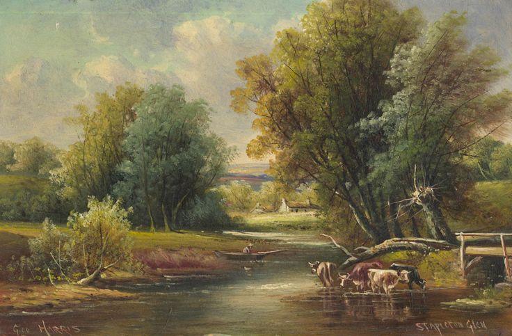 George Harris - Stapleton Glen, 19th Century Oil #oilpainting #art #oilpaint #oilpaintings #painting #19thcentury #19thcenturyart #realism #landscape #paintings