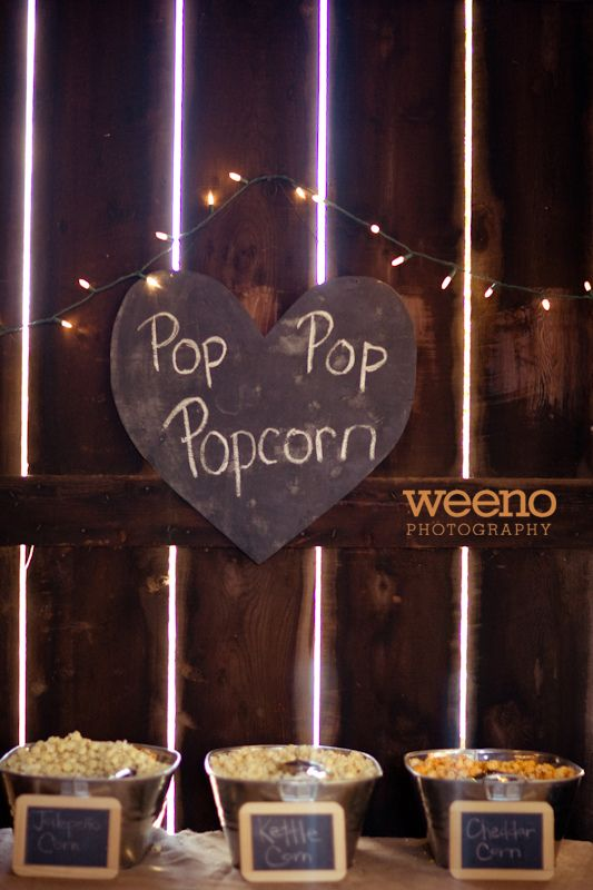 Popcorn Bar - with brown bags for wedding favor