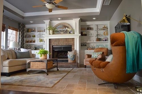 Den White Built Ins Around Fireplace Travertine Floors