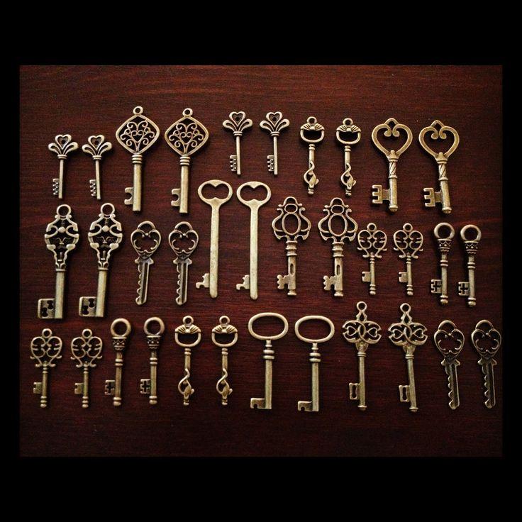 Keys to the Kingdom - Skeleton Keys - 75 x Vintage Keys Antique Bronze Brass Skeleton Keys Old Skeleton Set. $32.00, via Etsy.