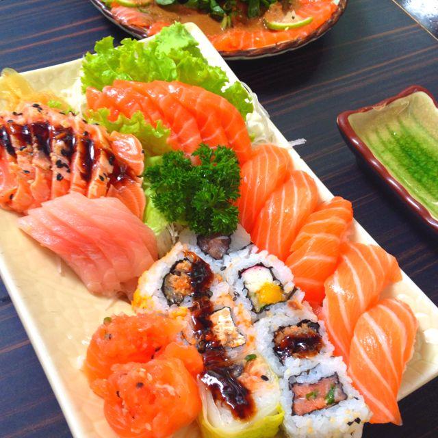 Japanese food.  Domo origato!  SAKE!