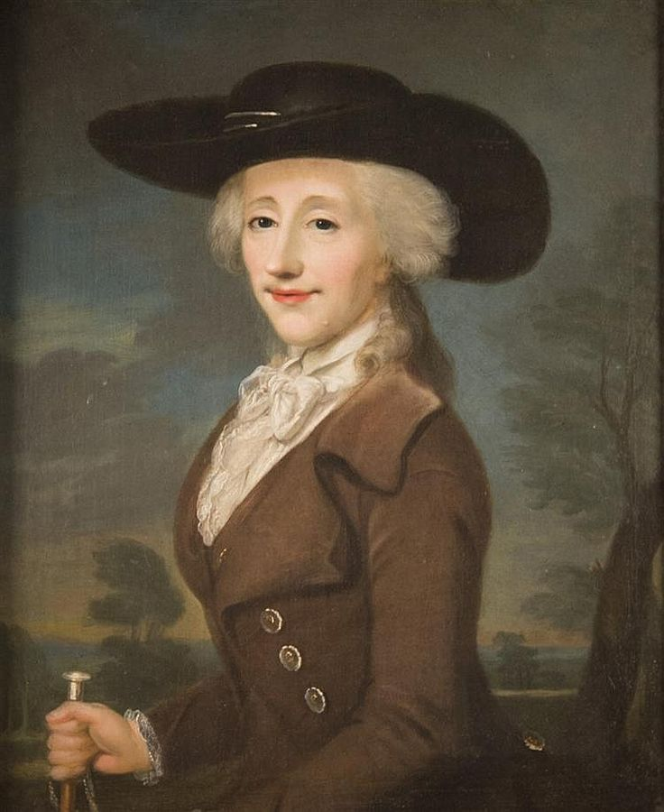 EUROPEAN SCHOOL (late 18th century) PORTRAIT OF A LADY IN A BLACK HAT AND BROWN RIDING HABIT oil on canvas; bears Thomson Collection, New York stamp, verso; bears a Bonhams label, frame, verso; 33 1/4 x 27 1/2 in. (35 3/4 x 29 3/4 in.)
