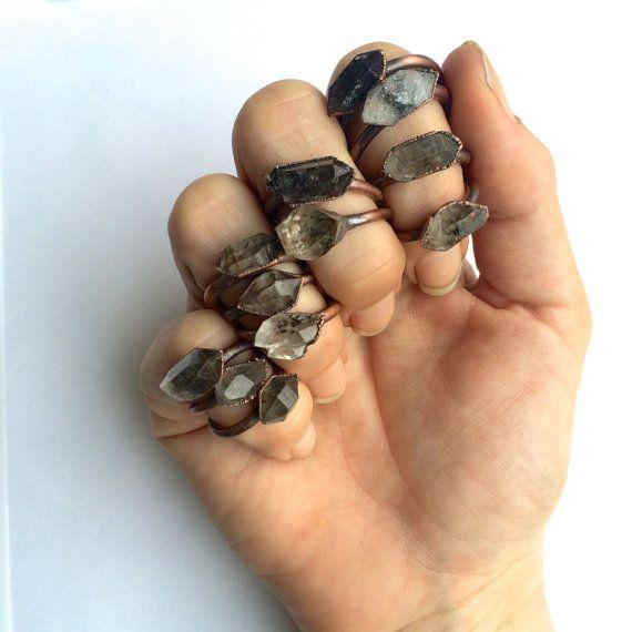 Tibetan crystal ring   Raw anthraxolite crystal ring   Double terminated quartz…