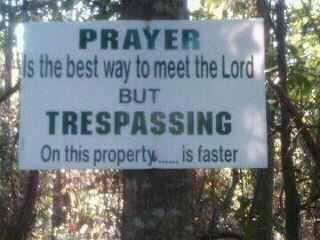 Trespassing sign... private property