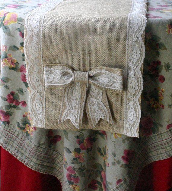 Burlap table runner WEEKEND SALE 1/2500 country by Bannerbanquet, $25.00