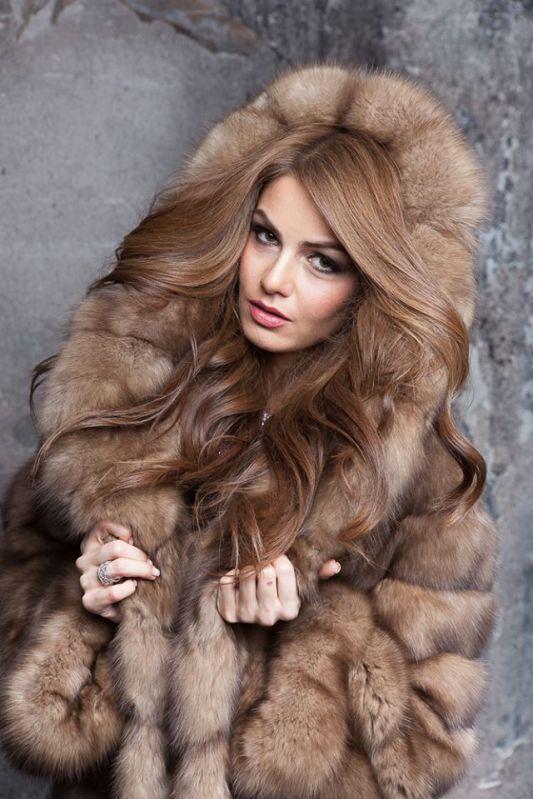 Tortora Sable Fur Hooded Coat