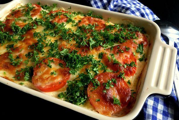 Kartoffel-lasagne med skinke og mozzarella…