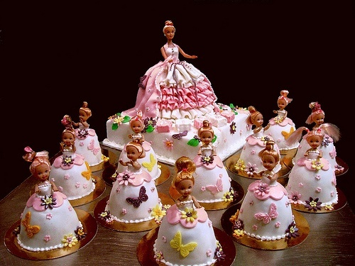 Barbie cake and mini barbie cakes by The House of Cakes Dubai, via Flickr who-knows