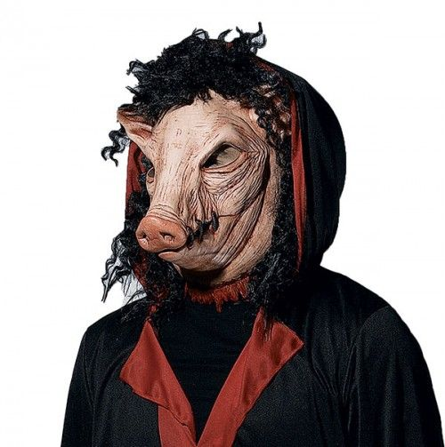 Scary Masks - This Saw Pig Mask is a latex mask with hair and is sized for adults. Description from bestcostumeplace.com. I searched for this on bing.com/images