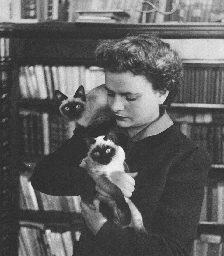 Italian writer Elsa Morante (Rome, 1912 – 1985) and her cats.
