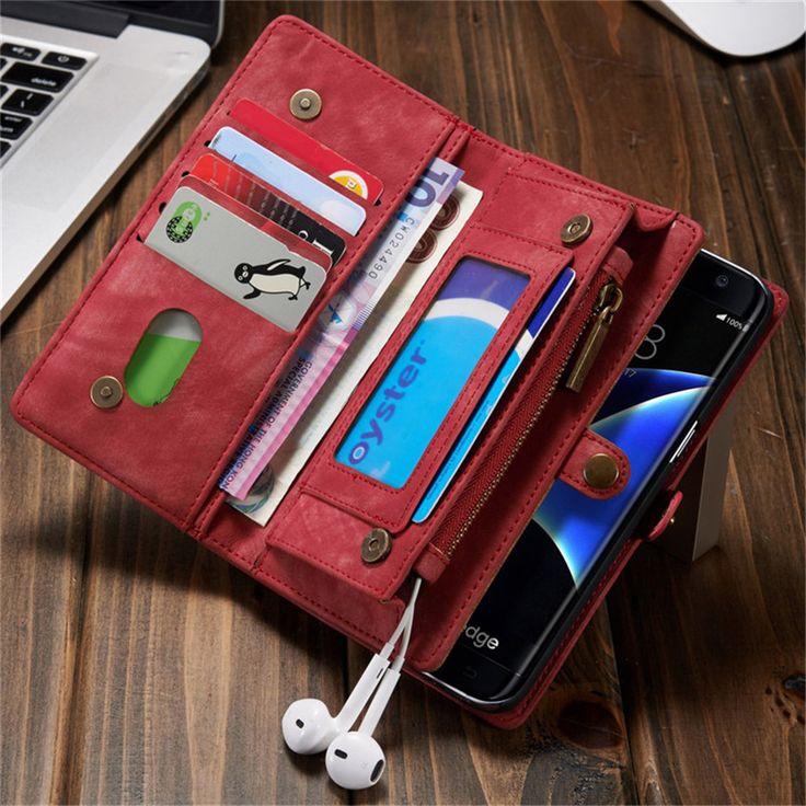 Portafoglio in pelle case per samsung galaxy s7 edge moda retrò flip phone sacchetto della copertura per iphone 6 6 s plus 7 plus con supporto di carta