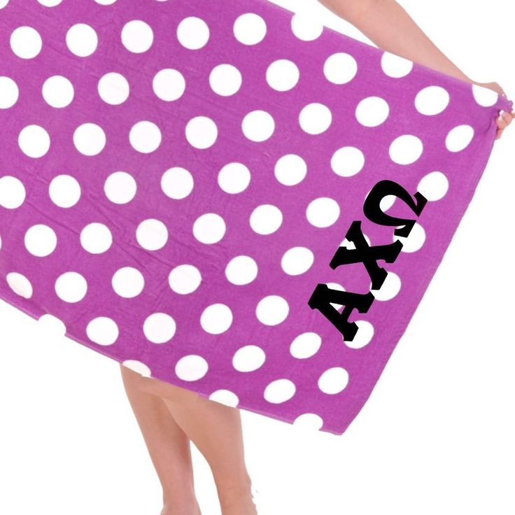 Alpha Chi Omega Beach Towel . Polka Dots . Black Letters
