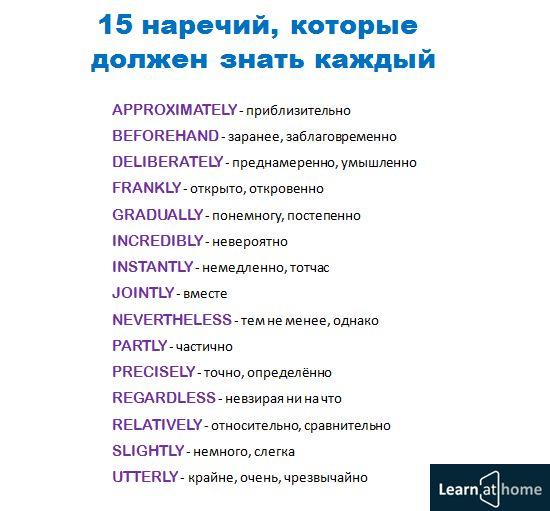 """15 наречий английского языка, которые должен знать каждый. Приходи на вебинар""""Как выучить английский за 3 месяца"""""""