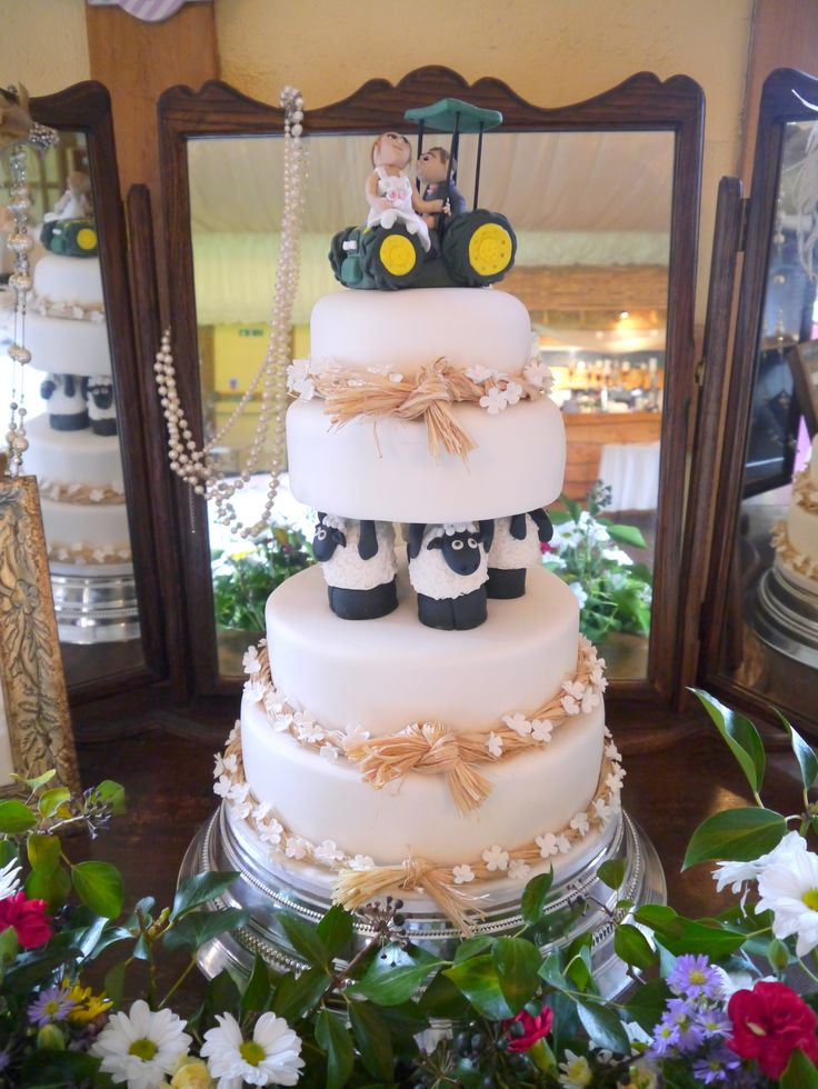 Rustic Country John Deere Farmers Wedding Cake