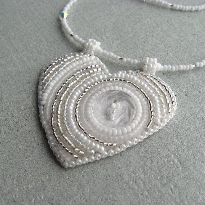Bead embroidery heart necklace.