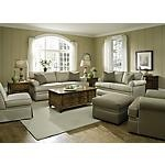"""The Kendall Living Room. Discover sophistication in a traditional, yet casual design.  This 2-piece package includes a Sofa and Loveseat.  Covered in a neutral, durable fabric.  Features a beautiful contrast welt.  Includes two accent pillows.  Rolled arms.  Incredibly comfortable.  Coordinating Sleeper, Chair, Accent Chair and Ottoman also available.    SKU: 1446622 - Kendall Stripe 2-PC Sofa & Loveseat Package   Sofa - 87""""W x 40""""D x 38""""H  Loveseat - 66""""W x 40""""D x 38""""H"""