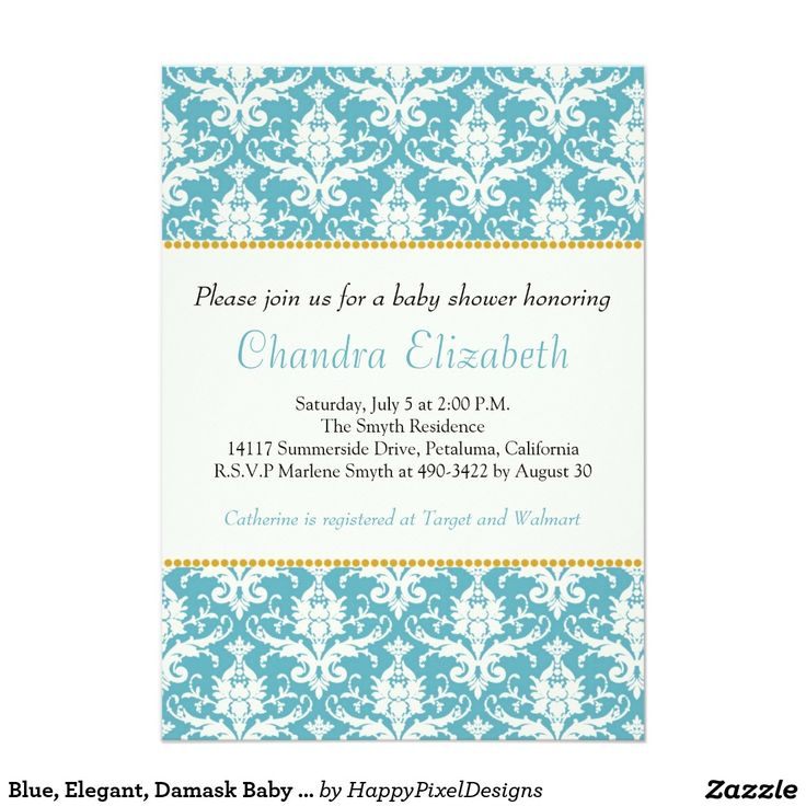 Blue, Elegant, Damask Baby Shower Invitation | Damask baby showers ...