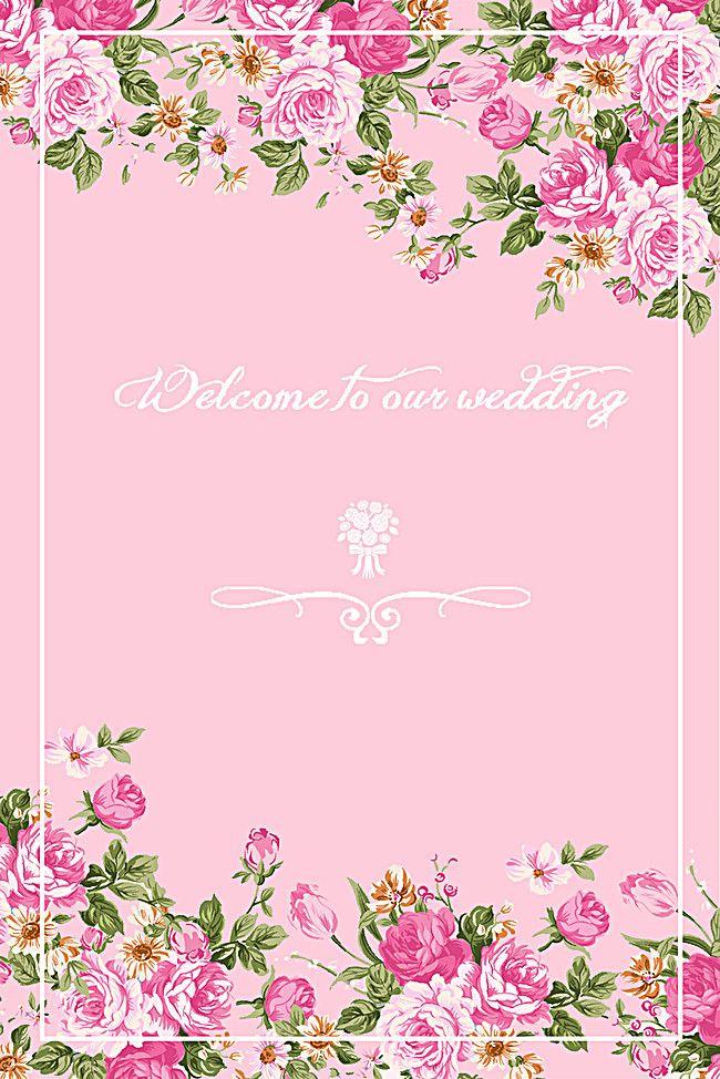 romantic wedding invitation card pink background  wedding