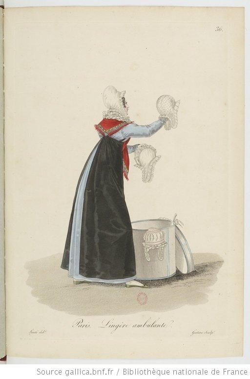 Lingère ambulante from Georges-Jacques Gatine, Costumes d'ouvrières parisiennes, 1824, BNF Paris