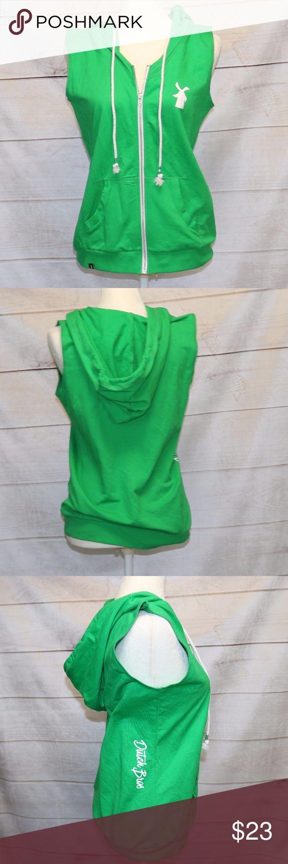 Dutch Bros Green Zip up Sweatshirt Vest - M EUC Medium Dutch Bros Kelly Green perfect for st. patricks day! Zip up front sweatshirt vest with hood Bros Dutch Tops Sweatshirts & Hoodies