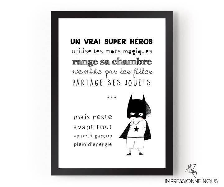 """Le produit Affiche """"un vrai super héros"""" est vendu par Impressionne nous dans notre boutique Tictail.  Tictail vous permet de créer gratuitement en ligne un shop de toute beauté sur tictail.com"""