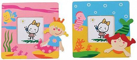 Fotolijstjes Zeemeermin - Een set van 2 fotolijstjes van het merk Simply for kids met zeemeerminnen erop  Afmetingen lijstjes: 12 x 12 cm