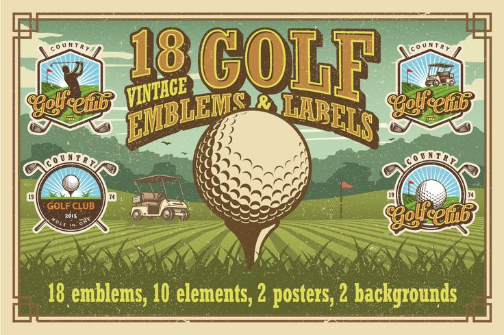 Set of vintage golf emblems by Imogi on Creative Market