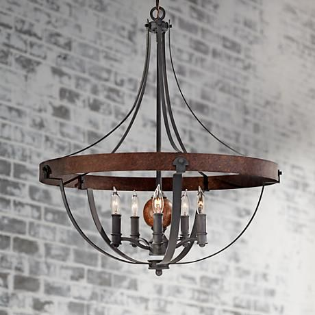 "Feiss Alston 24"" Wide Rustic Industrial Chandelier - #2G278 
