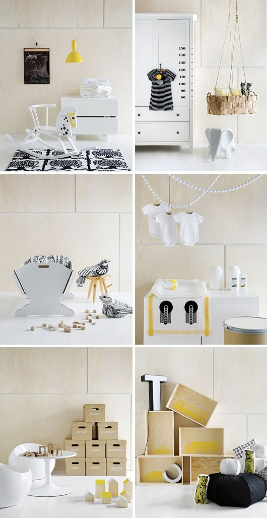 Lovely grey, black, yellow, and wood decor for a children's room and play area.