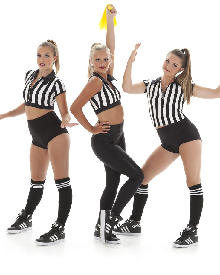 Sporty theme costumes - number 7 on the list of Top 10 Character & Theme Dance Costume Trends.  Click through for the whole list and more ideas like this referee theme dance costume!