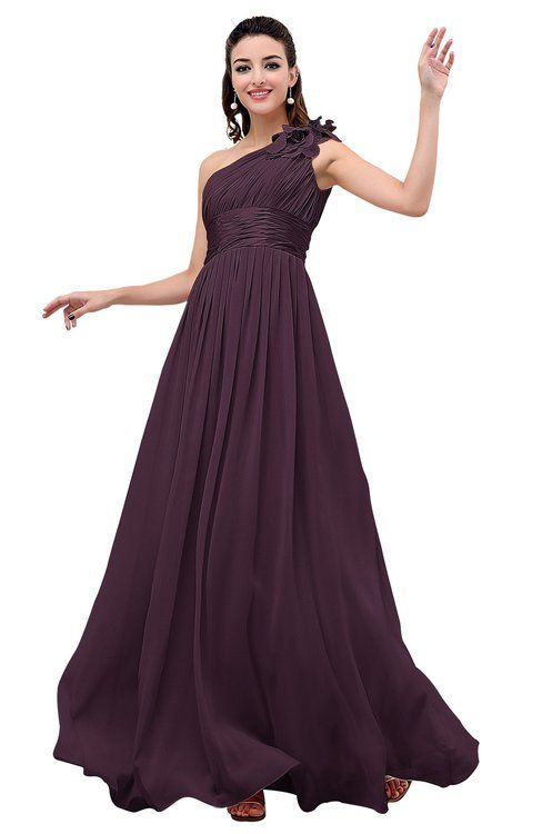 e91b9026a45 Plum Cinderella A-line Asymmetric Neckline Sleeveless Zipper Chiffon  Bridesmaid Dresses