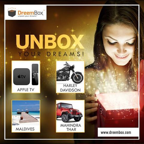 Unbox your Dreams this DIWALI with #Dreembox. Bid and Win Amazing products and take home max at just Rs. 3000 What are you waiting for!! Bid Now - http://www.dreembox.com/products to win these: 1. Harley Davidson Street 750 - Max Bid Rs. 15,000 2. Apple TV 4th Gen - Max Bid Rs. 3000 3. Maldives Holiday Package(3 Nights, 4 Days) - Rs. 5000 4. Mahindra Thar - Rs. 10,000 #BidOnline #AuctionWebsite #BiddingOnline #WinBikeOnline #BikeBidding #HarleyDavidson #MahindraThar #Thar #Mahindra #Apple