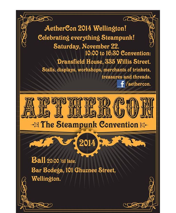 Wellington's annual Steampunk Event find out more on https://www.facebook.com/events/1445618539043012/