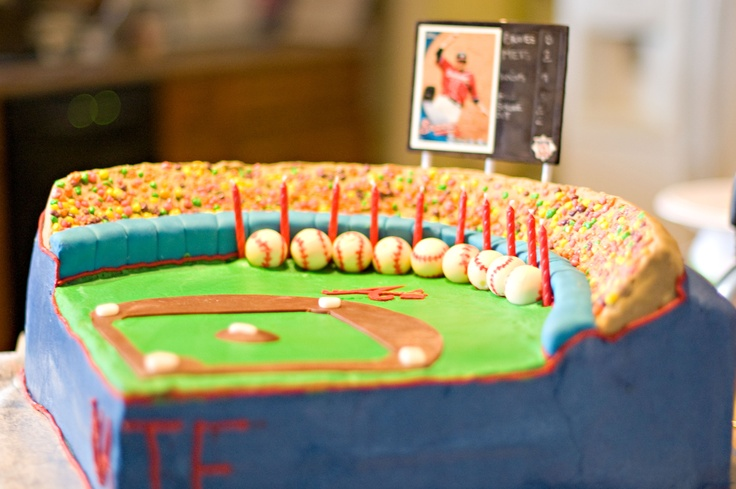 Atlanta Braves - Atlanta Braves baseball cake. The field itself is a chocolate and vanilla cake covered with buttercream icing with fondant accents. Baseballs are Lindt chocolate truffle balls painted with petal dust. Stadium is RKT.